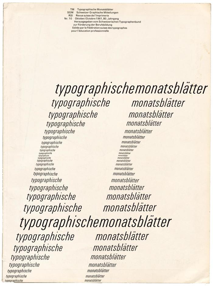 Typographische Monatsblätter, 1961 No. 10