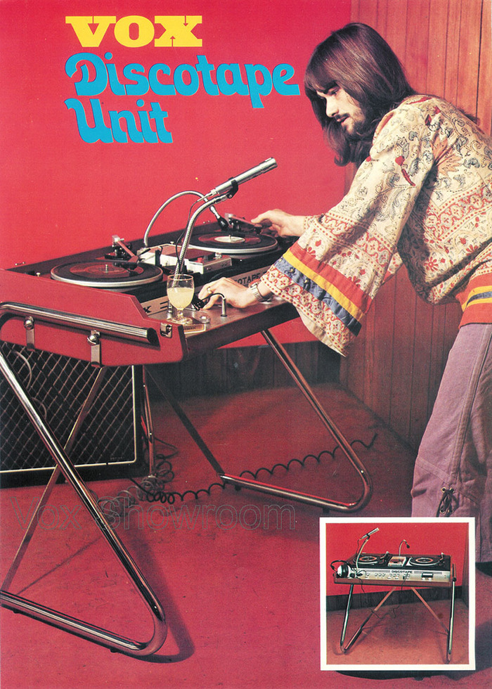 """""""The Vox Discotape Unit made creative use of the cabinet and stand of a Vox Continental II organ to make the first commercially produced portable DJ system."""" — Gary Hahlbeck"""
