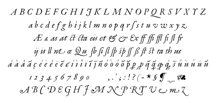 The character set of Robert Granjon's Paragon Italic. See also The Golden Compasses by Leon Voet, Digitale Bibliotheek voor de Nederlandse Letteren