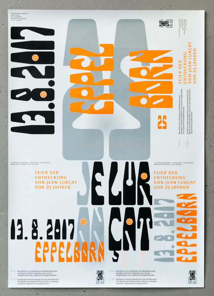 The A1 celebration poster, with two A3 designs on the bottom and one A2 design on the top