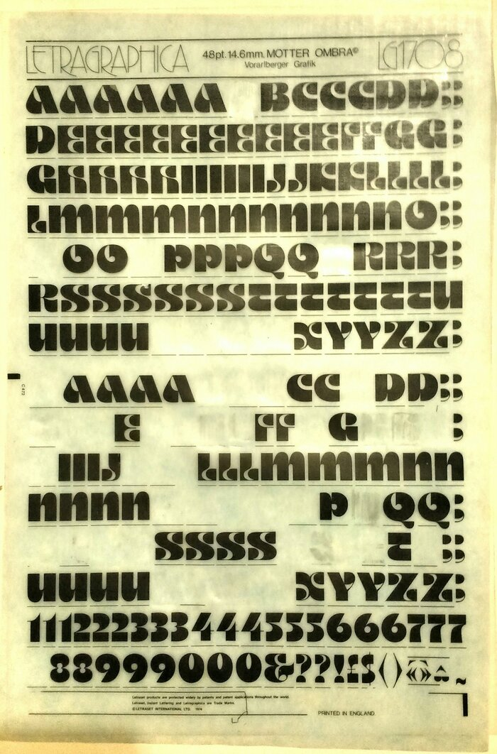Designed by Othmar Motter of Vorarlberger Grafik, Austria, Motter Ombra was available in Letraset's Letragraphica range. This is the original sheet of 48pt dry-transfer type where the letters for the album artwork came from. Note that most or all Ns and Us are still there. For these letters, the V glyph was repurposed — the liberties of the pre-Unicode era!