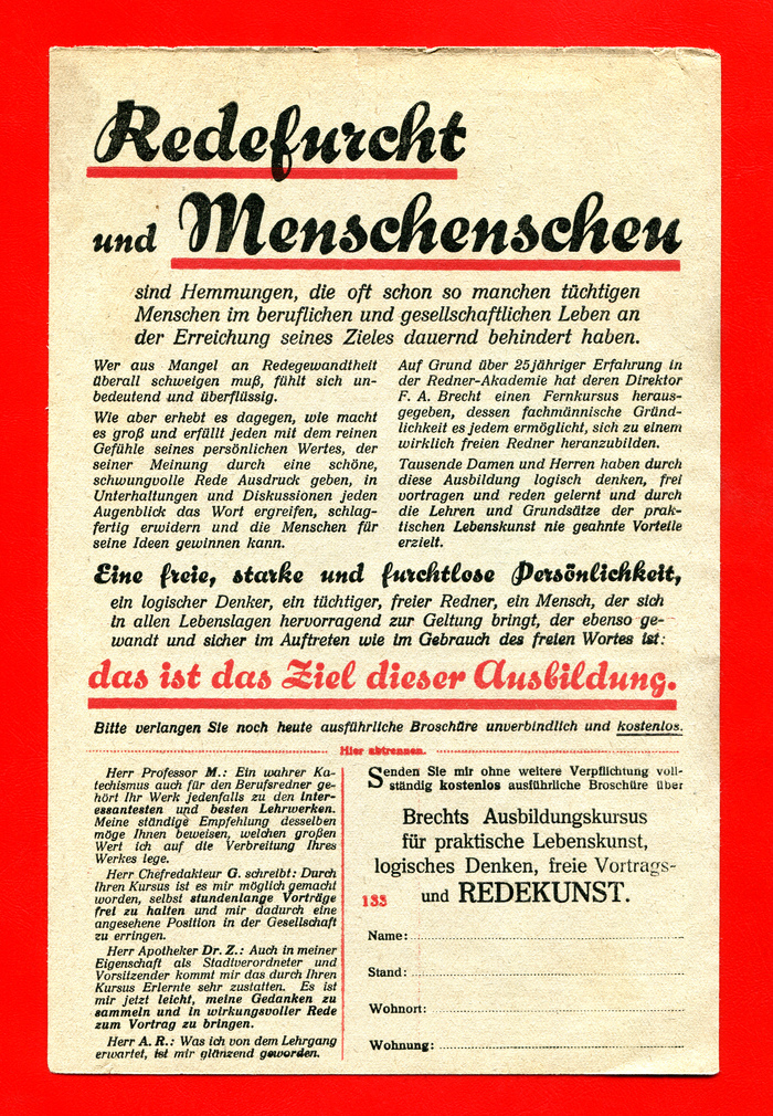Verlag R. Halbeck ad for rhetoric courses 1