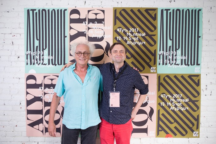 Two great type scholars (Luc Devroye left, Stephen Coles right) in front of some of the posters Julien designed with its own letterings, at ATypI 2017 closing party.