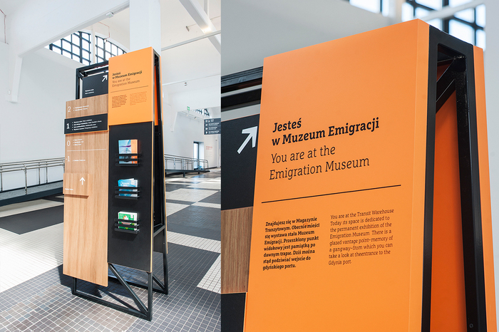 Wayfinding elements in Emigration Museum, Gdynia 1