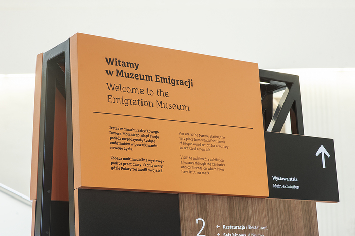 Wayfinding elements in Emigration Museum, Gdynia 2