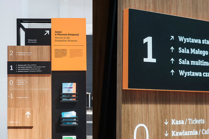 Wayfinding elements in Emigration Museum, Gdynia 4