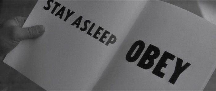 STAY ASLEEP is set in Tempo. OBEY is unidentified. Fonts In Use reader Robie notes that  by Jeff Levine is a match. This font wasn't released before 2009, though.