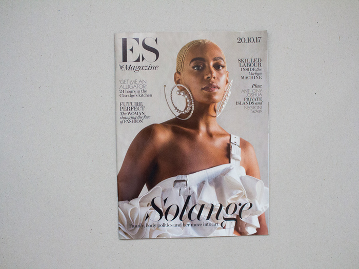 "The controversial cover which ES Magazine retouched out parts of Solange hair for ""editorial"" reasons — you can read about story here on The Guardian"