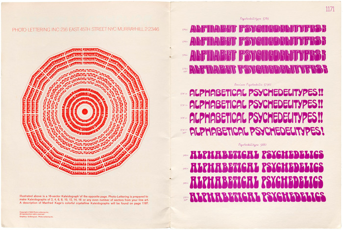 """A page demonstrating the """"Kaleidograph"""", a technique that was likely used for the cover design. On the right are samples of typefaces that would later be known as Village (outline/shadow version), Davison Arabesque, and Scorpio."""