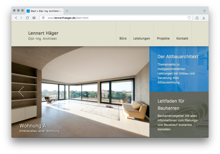 An older website by partner Lennart Häger already used a beta version of FF Sizmo. The website of the joint studio is in preparation.