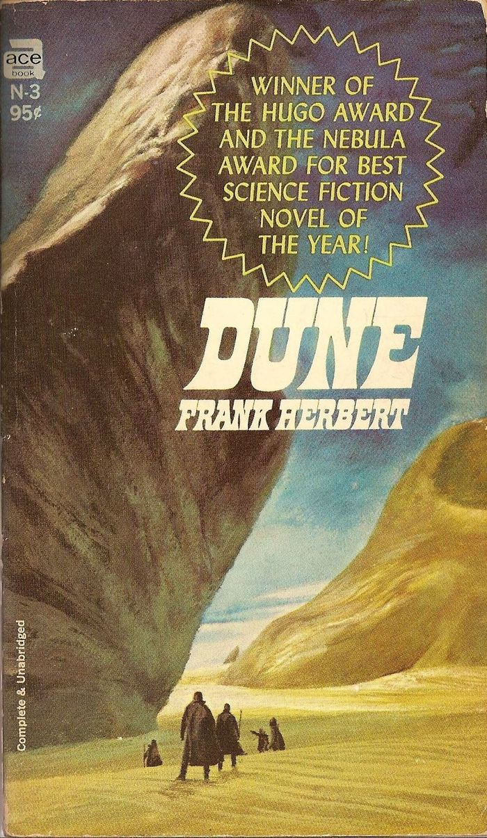 Ace, 1967. Title and author are in Benguiat Zenedipity, condensed and obliqued, nicely echoing the slant of the rock in John Schoenherr's cover art. The text in the starburst uses caps from Lydian Italic. [More info on ISFDB]