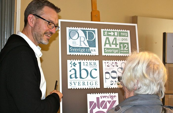 Gustav Mårtensson, the designer of the stamps, explaining how the typefaces were selected by their importance to Swedish typographical history and their ability to represent the graphic expression of their time.
