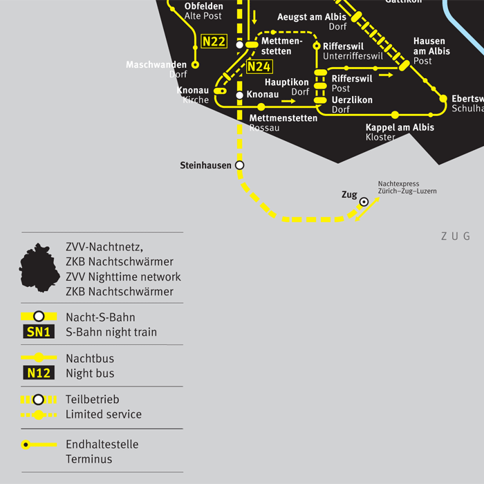 ZVV Nighttime Network Map 1