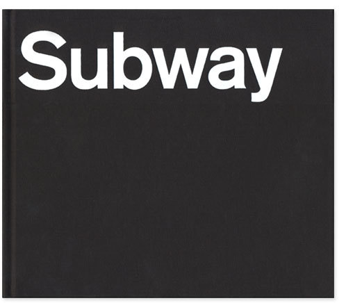 """Blue Pencil Edition Front Cover: """"Subway"""" stamped in white foil on black linen in Akzidenz Grotesk BQ Medium."""