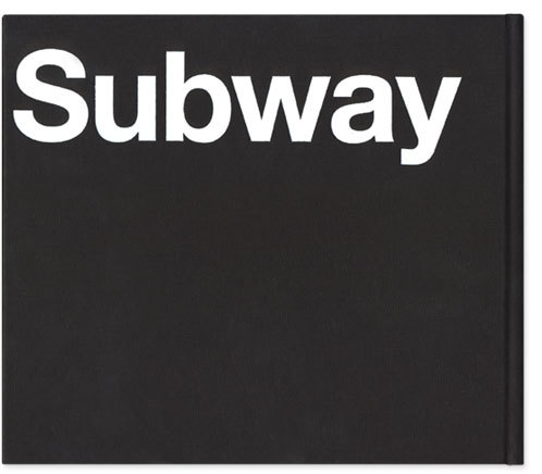 """Blue Pencil Edition Back Cover: """"Subway"""" stamped in white foil on black linen in Neue Helvetica 65 Medium."""