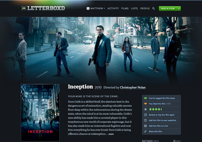 Letterboxd website (2011–2013) 2
