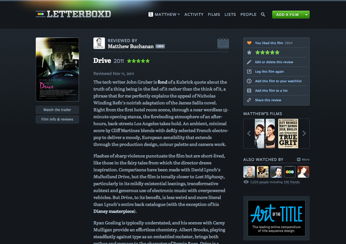 Letterboxd website (2011–2013) 3