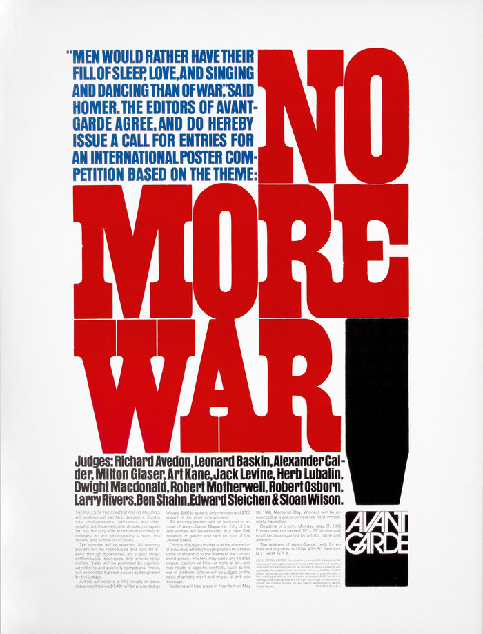 """No More War"" – Avant Garde magazine call for entries"