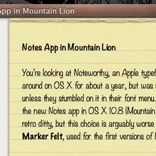 OS X 10.8 (Mountain Lion) Notes App