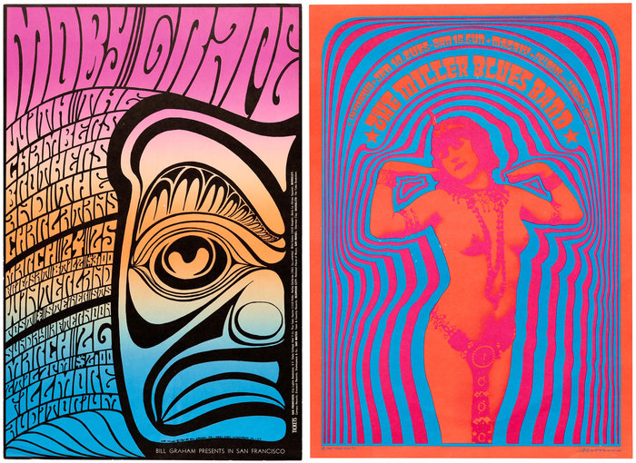 Fillmore posters by Wes Wilson and Victor Moscoso, 1967. Their lettering was a clear inspiration for the Pyschedelitypes series.