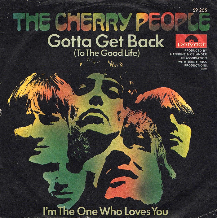 """For the German release of """"Gotta Get Back (To The Good Life)""""/""""I'm The One Who Loves You"""" (Polydor, 1969) the band name in Arabesque was reused as quasi-logo and, together with the (mirrored!) band portrait, colored in with a rainbow gradient. The song titles were reset in Futura."""