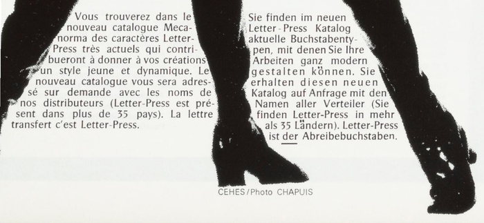 "Detail of Pascal fit to shape, with manually added umlauts. The ad is credited to ""CEHES / Photo CHAPUIS""."