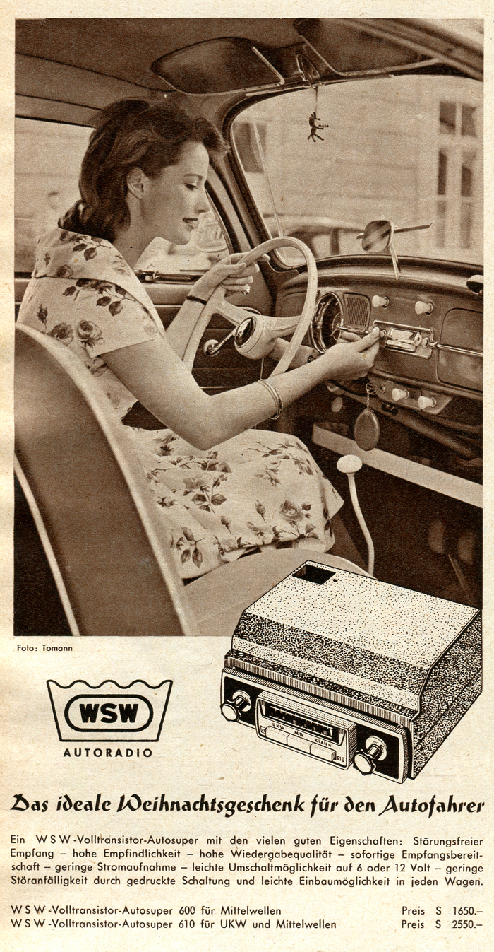 """WSW-Volltransistor-Autosuper"" car radio ad (1960)"