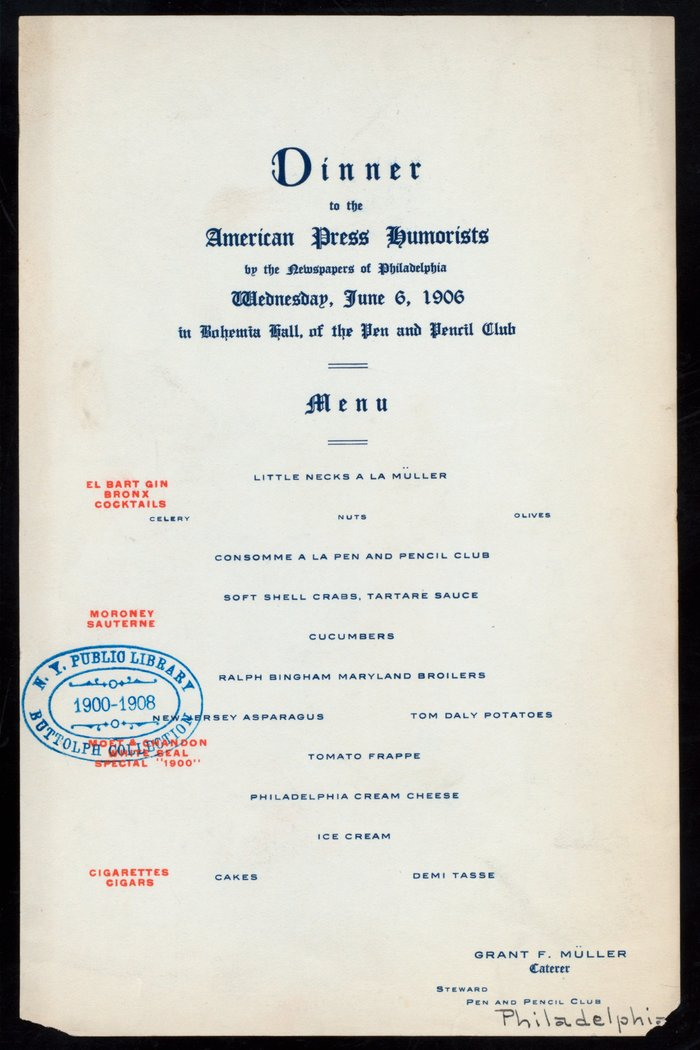 Dinner to the American Press Humorists (1906)