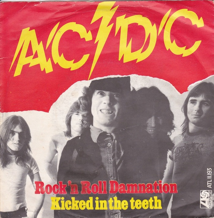 "Dutch 45 RPM single for AC/DC's ""Rock 'n Roll Damnation"" with B-side ""Kicked In The Teeth""."