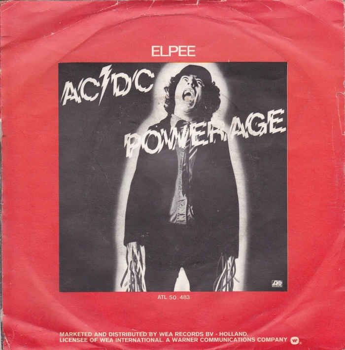 1978 LP Powerage (Albert Productions/EMI Australia, Atlantic). Photography by Jim Houghton, Art Direction by Bob Defrin.