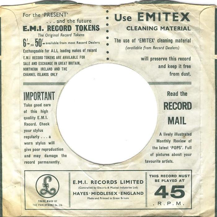 Parlophone Company sleeves (1963–65) 3