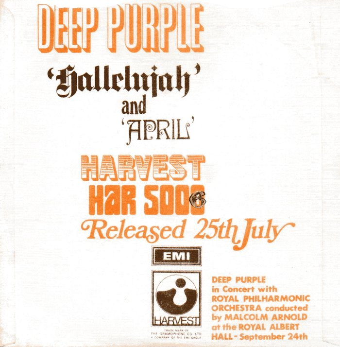 """Deep Purple – """"Hallelujah"""" / """"April"""" single cover"""