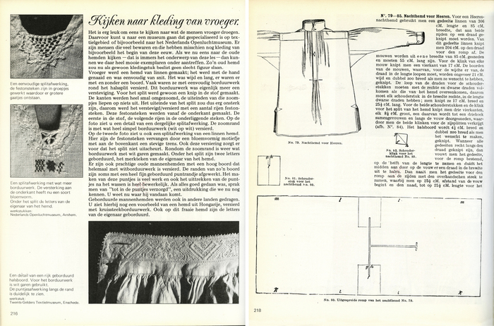 """Kijken naar kleding van vroeger"" (looking at clothing from bygone days). Heading in Poppl-Exquisit. For the righthand page, effort was made to make it look like a page form the past: A narrower typeface, old style fractions, and a outdated choice of words and grammar."