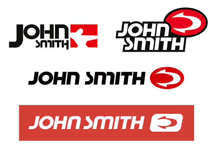Logo evolution, with versions hosted by Brands of the World (updated 2004, 2013) and the current one (2017, bottom) from www.johnsmith.es.