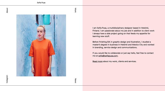 Sofia Pusa portfolio website 2