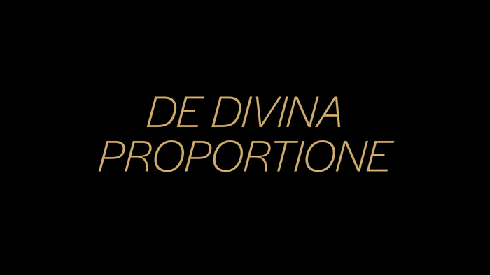 "The words ""The Divine Proportion"" are set in Halyard Display Light Italic."