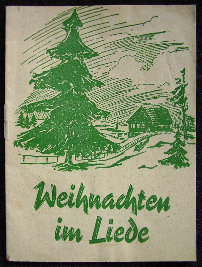 Another edition printed on cheap paper (1950s?), featuring the same illustration, but another 1930s script typeface: This is , designed by  and issued by the  in 1938. The font contained a number of ligatures. This setting uses ch and en (but not ei).