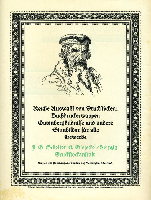 """""""Rich selection of printing blocks: printers' emblems, Gutenberg portraits, and other symbols for all trades""""    Ad in Typographische Mitteilungen, Vol. 22, Issue 9, September 1925, featuring Schneidler-Schwabacher and printing plate Nr. 35675 by Schriftgießerei J. G. Schelter & Giesecke."""