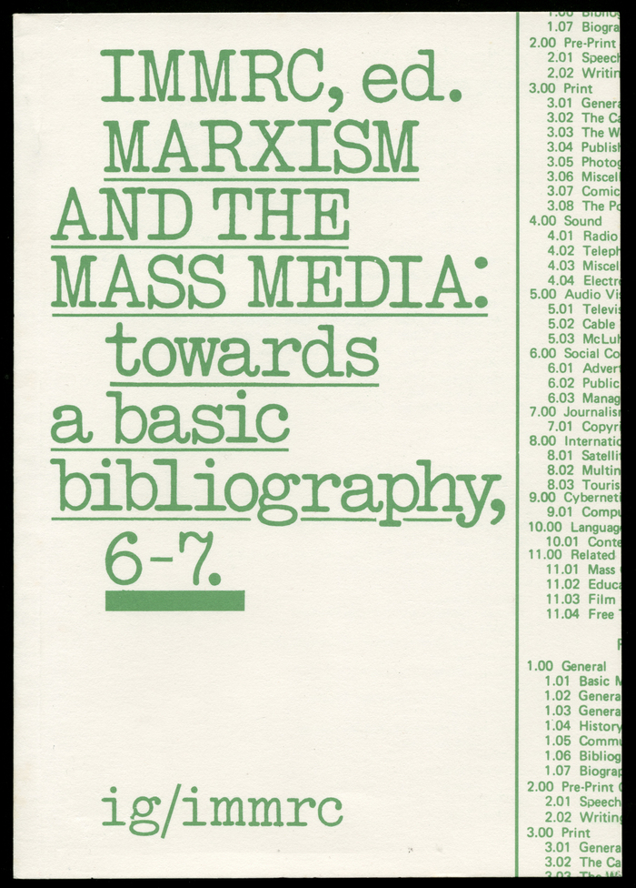 Marxism and the Mass Media by IMMRC (ed.) 1