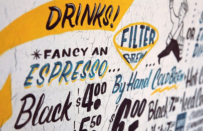 "Detail from the hand-painted menu. Some of the styles might be modeled after fonts, see e.g. House Industries' Signpainter Collection, and especially House Script for ""Black"" / ""By Hand""."