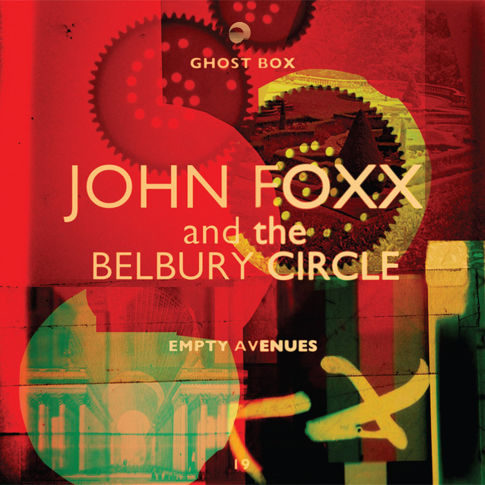 Empty Avenues by John Foxx and The Belbury Circle (GBX 019) uses center-aligned Gill Sans, with effects of overexposure.