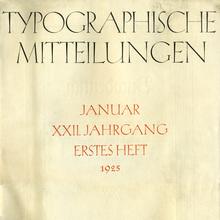 """<cite>Typographische Mitteilungen</cite>, Vol. 22, No. 1, January<span class=""""nbsp""""></span>1925"""