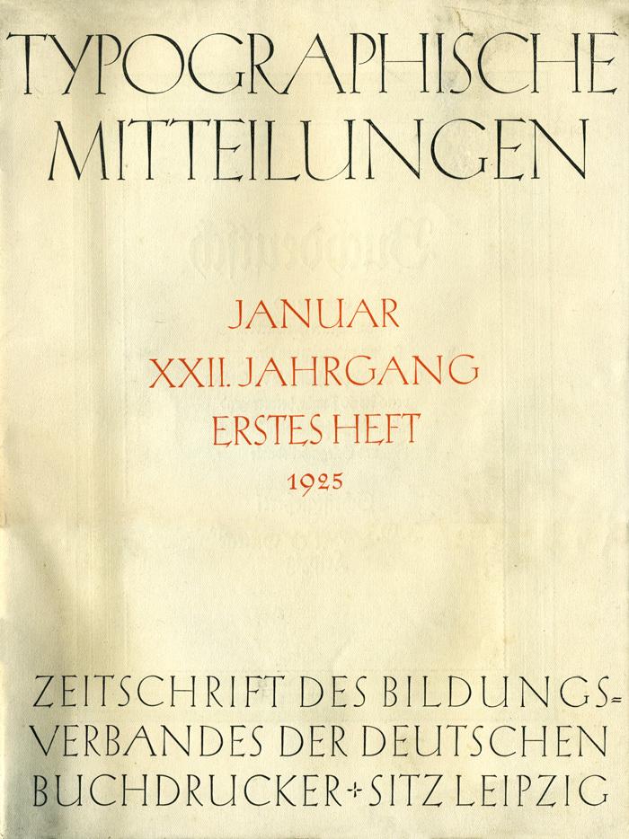 Typographische Mitteilungen, Vol. 22, No. 1, January1925