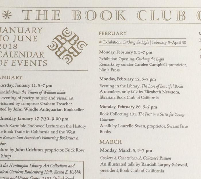 Book Club of California Events Calendar 2