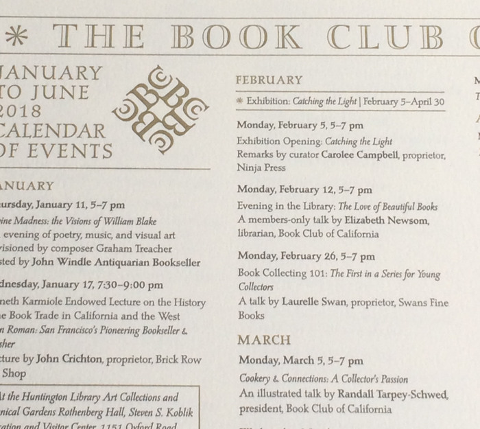 Book Club of California Events Calendar 2