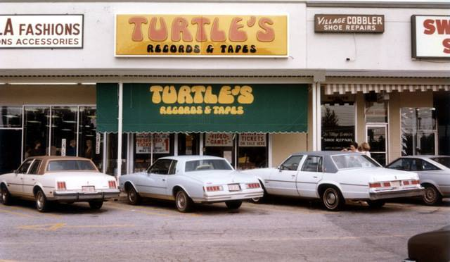Store front of Turtle's Records and Tapes on Memorial Drive in Stone Mountain, Georgia. The photo is by Randy Blazak who used to work here in the early 1980s. Make sure to read his blog post about how music was his escape route from racism.