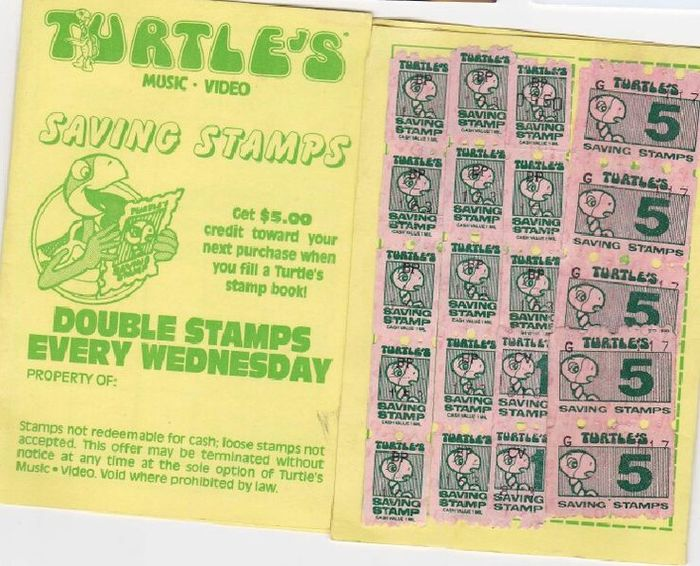 A full page in a booklet of Turtle's saving stamps. The Turtle's logo is in Mania Contour. Secondary typefaces include Balloon Drop Shadow and Antique Olive (with Compact).