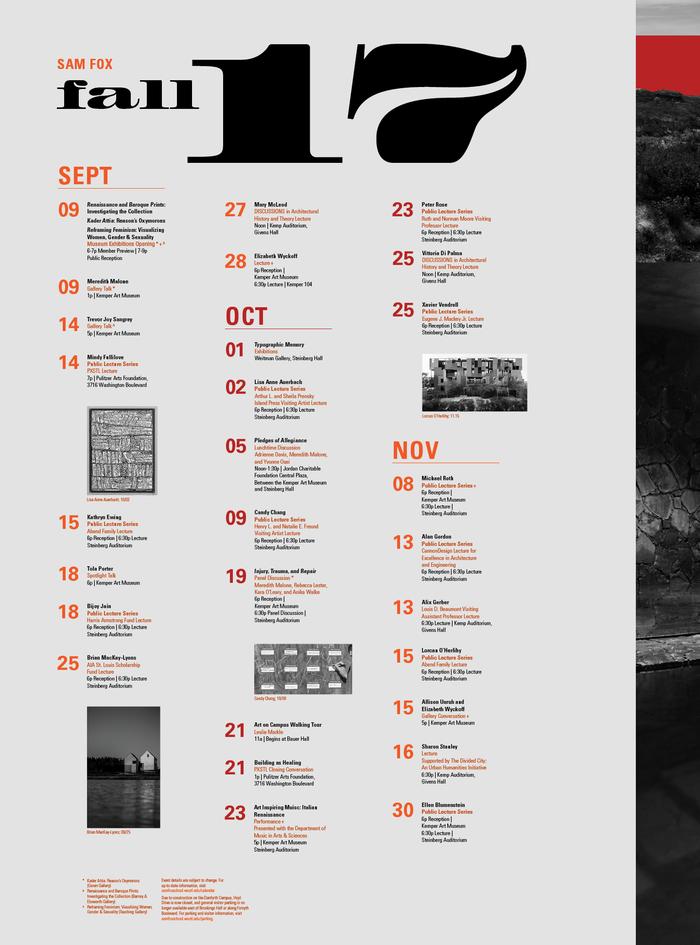 Sam Fox Events Calendar Fall 2017 2