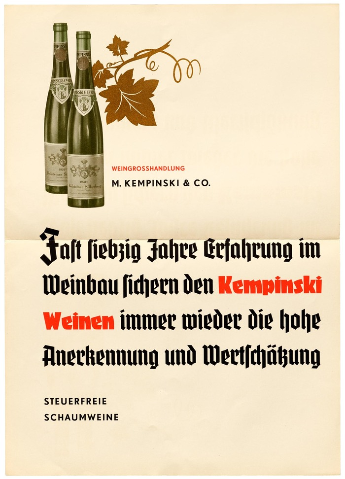 """Poster ad for """"tax-exempt sparkling wines"""" by M. Kempinski & Co. The wine company was founded by German-Jewish merchant Berthold Kempinski (1843–1910) in 1862. In 1937, a few years after this specimen was published, Kempinski's son-in-law Richard Unger (1866–1947) was forced to sell the company and emigrate to the US. As a graphic sign of this """"Aryanization"""", the star in the logo (still visible on the labels shown here) was replaced by grapes. In 1941, the Jewish name Kempinski was changed to F. W. Borchardt."""
