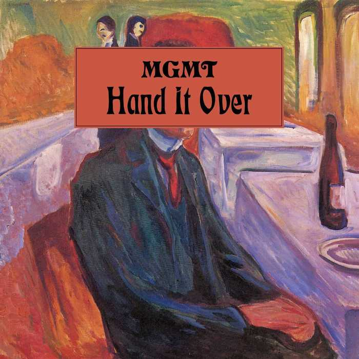 Hand It Over (5 Jan 2018) is the third single from the upcoming album. It brought back the main typeface choices. The painting is Edvard Munch's Self-Portrait With a Bottle of Wine from 1906.